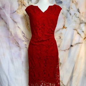 Adrianna Papell size 14P red lace dress